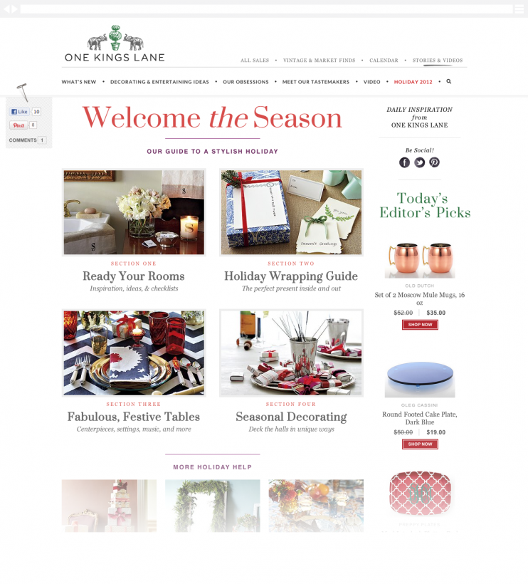 A holiday landing / archive page with an overview leading